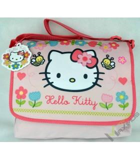 Hello Kitty Schultertasche / Umhängetasche mit Klettverschluss abwischbar / perfekt für Kindergarten, Vorschule, als Sporttasche