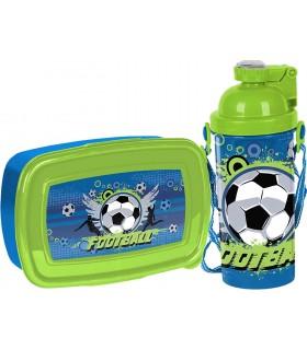 Lunch Set  Brotdose und Trinklasche mit Fußballmotiv | BPA Free